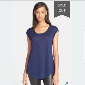 Vince Twisted Neck Cap Sleeves Tee Top S Navy Blue